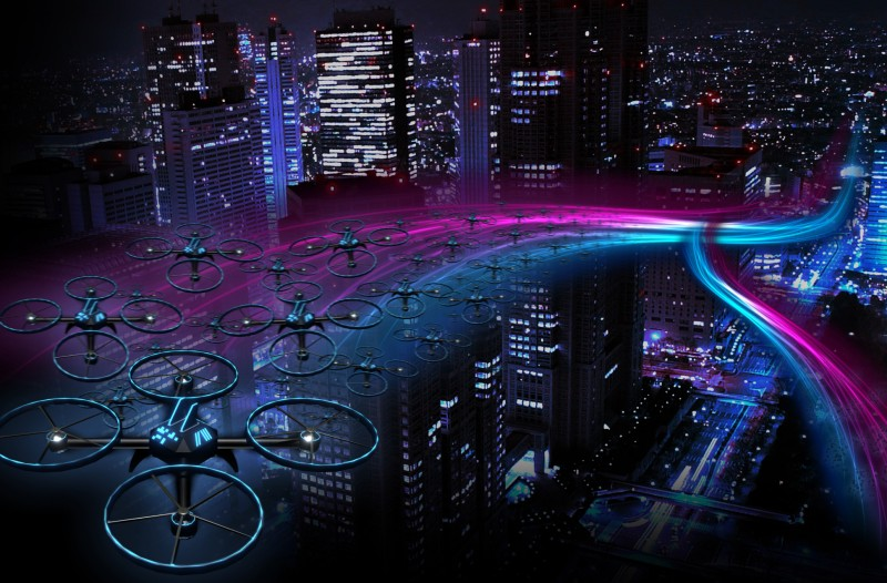 drones for architecure iswarm drones flying above a city
