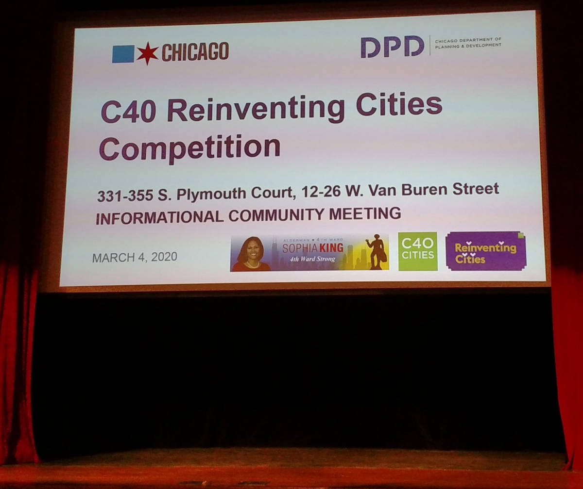 C40 reinventing cities competition chicago. First community meeting at Harold Washington Libraray
